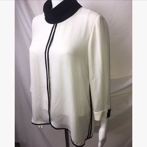 Zara High Neck Black & White Blouse